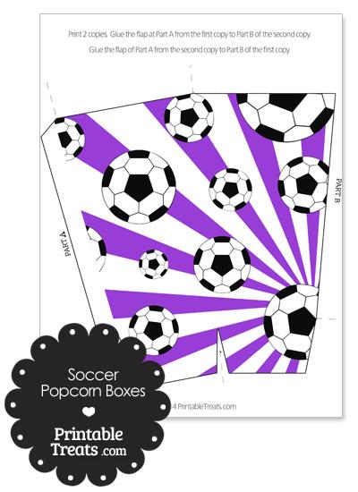 Purple Sunburst Soccer Popcorn Boxes from PrintableTreats.com