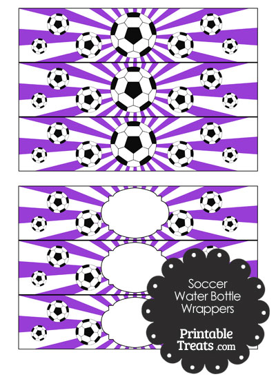 Purple Sunburst Soccer Water Bottle Wrappers from PrintableTreats.com