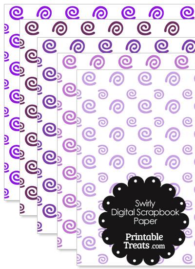 Purple Swirls Digital Scrapbook Paper from PrintableTreats.com