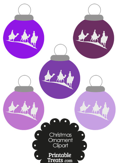 Purple Three Wise Men Christmas Ornament Clipart from PrintableTreats.com