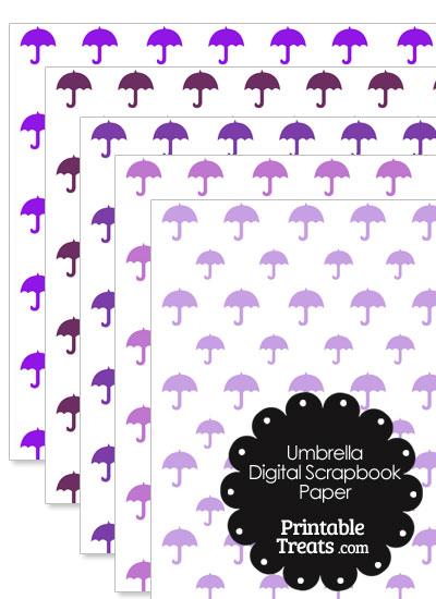 Purple Umbrella Digital Scrapbook Paper from PrintableTreats.com