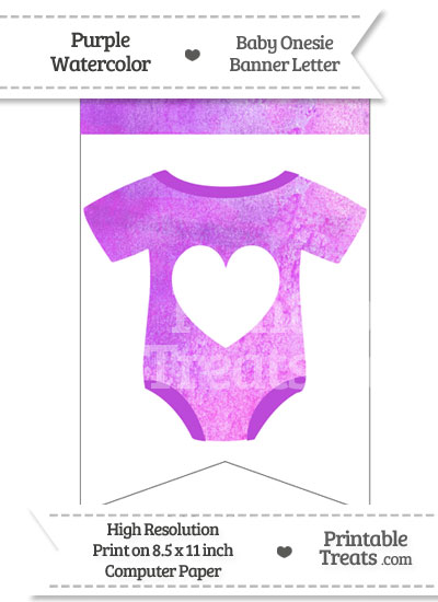 Purple Watercolor Baby Onesie Bunting Banner Heart End Flag from PrintableTreats.com