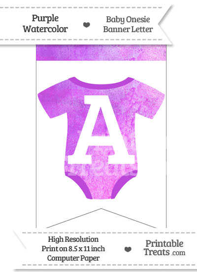 Purple Watercolor Baby Onesie Bunting Banner Letter A from PrintableTreats.com