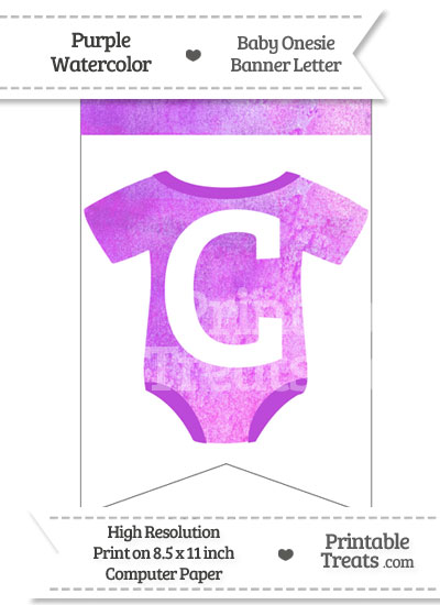 Purple Watercolor Baby Onesie Bunting Banner Letter C from PrintableTreats.com