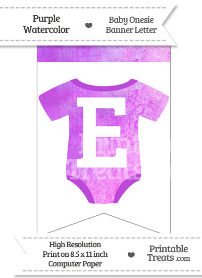 Purple Watercolor Baby Onesie Bunting Banner Letter E from PrintableTreats.com