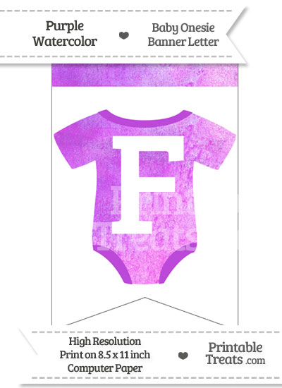 Purple Watercolor Baby Onesie Bunting Banner Letter F from PrintableTreats.com