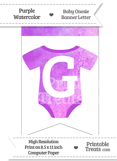 Purple Watercolor Baby Onesie Bunting Banner Letter G from PrintableTreats.com