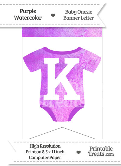 Purple Watercolor Baby Onesie Bunting Banner Letter K from PrintableTreats.com