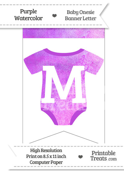 Purple Watercolor Baby Onesie Bunting Banner Letter M from PrintableTreats.com