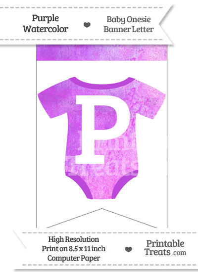 Purple Watercolor Baby Onesie Bunting Banner Letter P from PrintableTreats.com