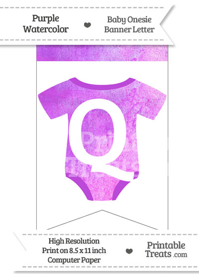 Purple Watercolor Baby Onesie Bunting Banner Letter Q from PrintableTreats.com