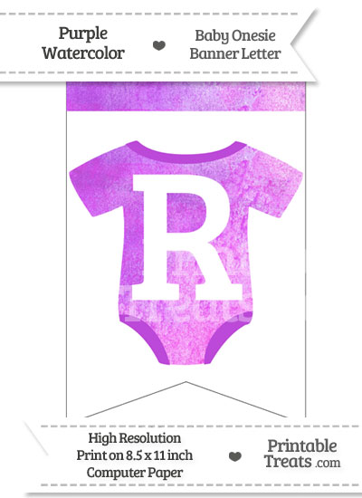 Purple Watercolor Baby Onesie Bunting Banner Letter R from PrintableTreats.com