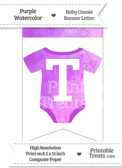 Purple Watercolor Baby Onesie Bunting Banner Letter T from PrintableTreats.com