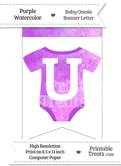Purple Watercolor Baby Onesie Bunting Banner Letter U from PrintableTreats.com
