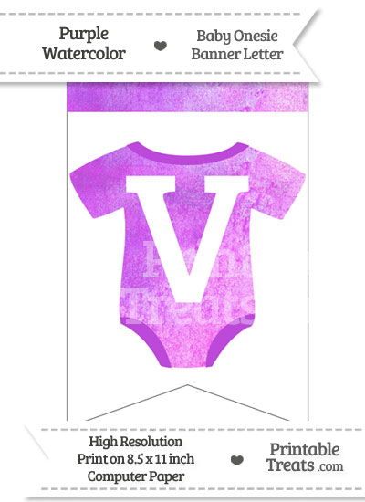 Purple Watercolor Baby Onesie Bunting Banner Letter V from PrintableTreats.com