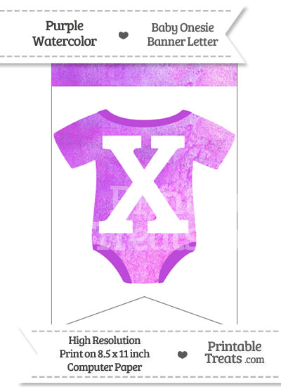 Purple Watercolor Baby Onesie Bunting Banner Letter X from PrintableTreats.com