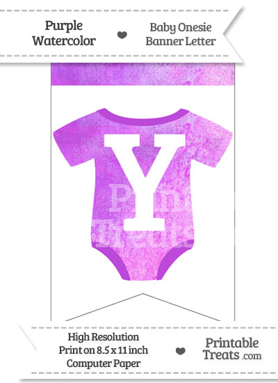 Purple Watercolor Baby Onesie Bunting Banner Letter Y from PrintableTreats.com