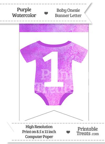 Purple Watercolor Baby Onesie Bunting Banner Number 1 from PrintableTreats.com