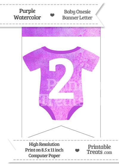 Purple Watercolor Baby Onesie Bunting Banner Number 2 from PrintableTreats.com