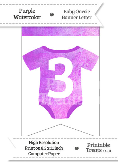 Purple Watercolor Baby Onesie Bunting Banner Number 3 from PrintableTreats.com