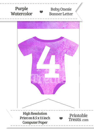 Purple Watercolor Baby Onesie Bunting Banner Number 4 from PrintableTreats.com