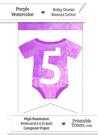 Purple Watercolor Baby Onesie Bunting Banner Number 5 from PrintableTreats.com