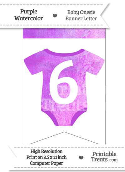 Purple Watercolor Baby Onesie Bunting Banner Number 6 from PrintableTreats.com