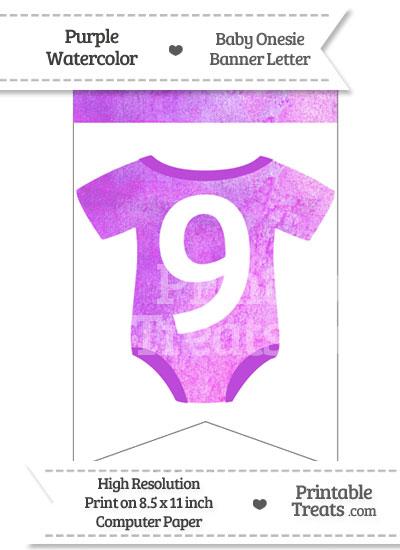 Purple Watercolor Baby Onesie Bunting Banner Number 9 from PrintableTreats.com