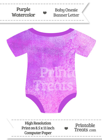 Purple Watercolor Baby Onesie Shaped Banner Blank Spacer Flag from PrintableTreats.com