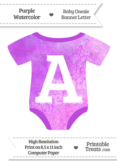 Purple Watercolor Baby Onesie Shaped Banner Letter A from PrintableTreats.com