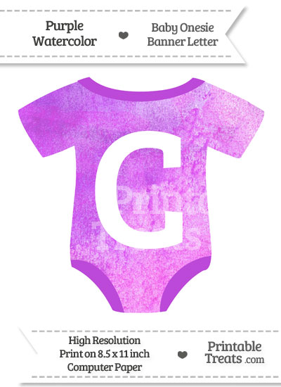 Purple Watercolor Baby Onesie Shaped Banner Letter C from PrintableTreats.com