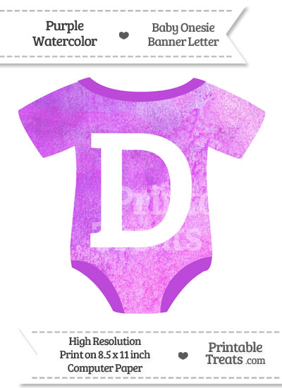 Purple Watercolor Baby Onesie Shaped Banner Letter D from PrintableTreats.com