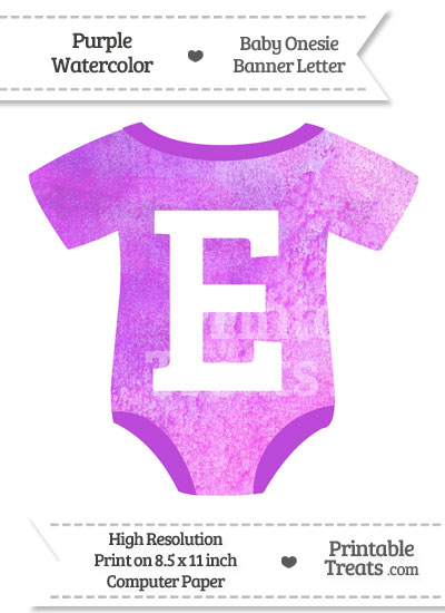 Purple Watercolor Baby Onesie Shaped Banner Letter E from PrintableTreats.com