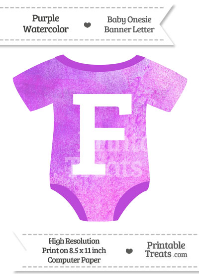 Purple Watercolor Baby Onesie Shaped Banner Letter F from PrintableTreats.com