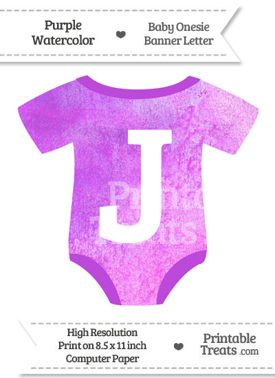 Purple Watercolor Baby Onesie Shaped Banner Letter J from PrintableTreats.com