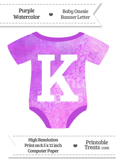 Purple Watercolor Baby Onesie Shaped Banner Letter K from PrintableTreats.com