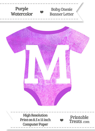 Purple Watercolor Baby Onesie Shaped Banner Letter M from PrintableTreats.com