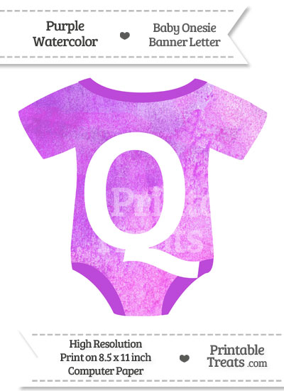 Purple Watercolor Baby Onesie Shaped Banner Letter Q from PrintableTreats.com