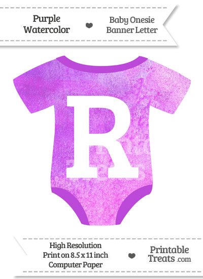 Purple Watercolor Baby Onesie Shaped Banner Letter R from PrintableTreats.com