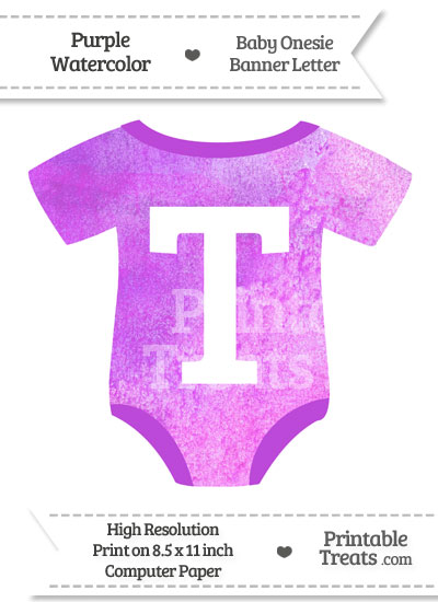 Purple Watercolor Baby Onesie Shaped Banner Letter T from PrintableTreats.com