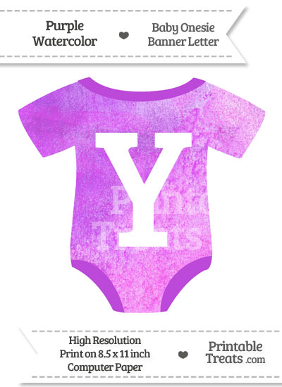 Purple Watercolor Baby Onesie Shaped Banner Letter X from PrintableTreats.com