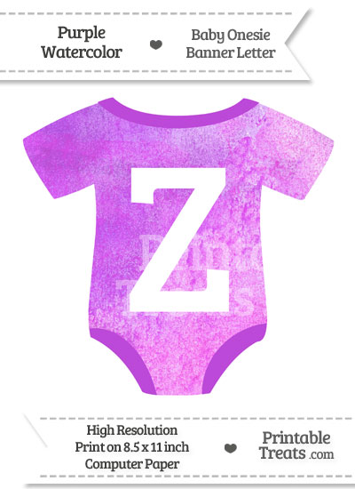 Purple Watercolor Baby Onesie Shaped Banner Letter Z from PrintableTreats.com