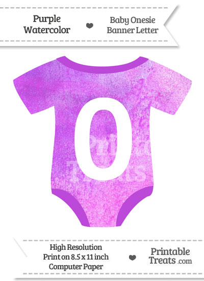 Purple Watercolor Baby Onesie Shaped Banner Number 0 from PrintableTreats.com