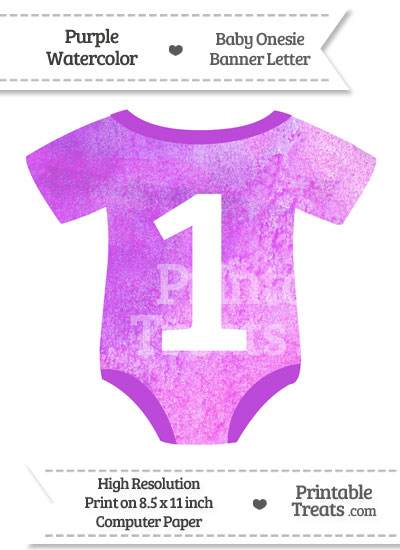 Purple Watercolor Baby Onesie Shaped Banner Number 1 from PrintableTreats.com