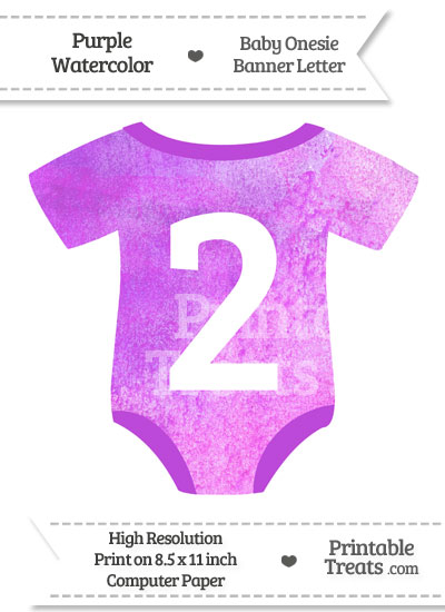 Purple Watercolor Baby Onesie Shaped Banner Number 2 from PrintableTreats.com