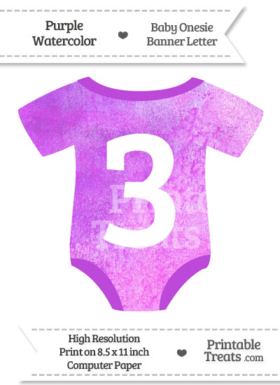 Purple Watercolor Baby Onesie Shaped Banner Number 3 from PrintableTreats.com