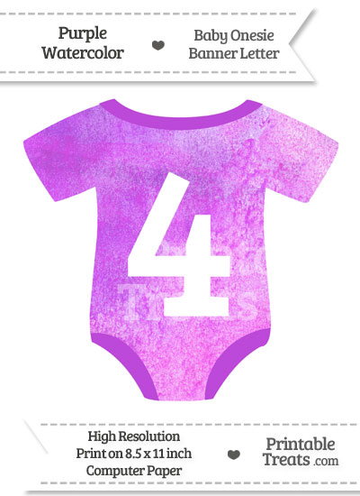 Purple Watercolor Baby Onesie Shaped Banner Number 4 from PrintableTreats.com