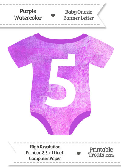Purple Watercolor Baby Onesie Shaped Banner Number 5 from PrintableTreats.com