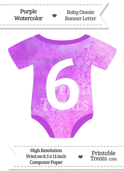 Purple Watercolor Baby Onesie Shaped Banner Number 6 from PrintableTreats.com