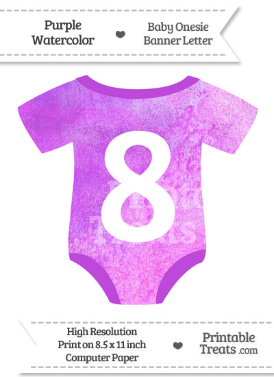 Purple Watercolor Baby Onesie Shaped Banner Number 8 from PrintableTreats.com